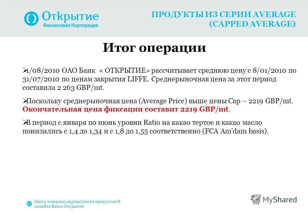 ПРОДУКТЫ ИЗ СЕРИИ AVERAGE (CAPPED AVERAGE) Итог операции 1/08/2010 ОАО Банк « ОТКРЫТИЕ» рассчитывает среднюю цену с 8/01/2010 по 31/07/2010 по ценам закрытия LIFFE. Среднерыночная цена за этот период составила 2 263 GBP/mt. Поскольку среднерыночная ц