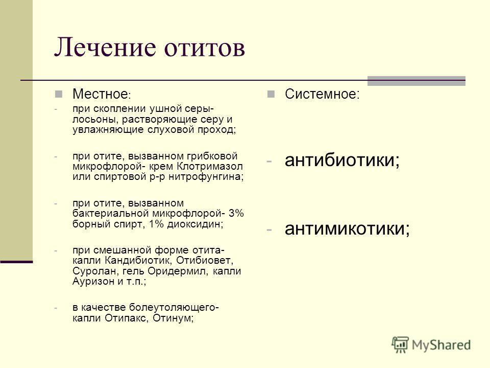 Лечение отитов Местное : - при скоплении ушной серы- лосьоны, растворяющие серу и увлажняющие слуховой проход; - при отите, вызванном грибковой микрофлорой- крем Клотримазол или спиртовой р-р нитрофунгина; - при отите, вызванном бактериальной микрофл