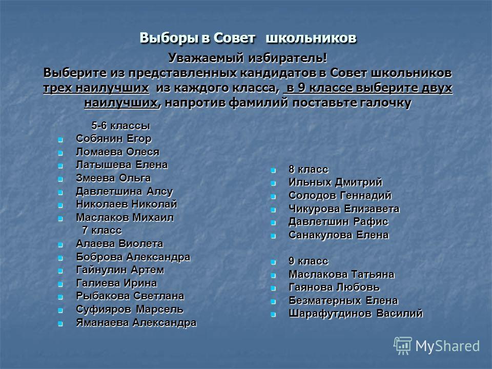 Выборы в Совет школьников Уважаемый избиратель! Выберите из представленных кандидатов в Совет школьников трех наилучших из каждого класса, в 9 классе выберите двух наилучших, напротив фамилий поставьте галочку 5-6 классы 5-6 классы Собянин Егор Собян
