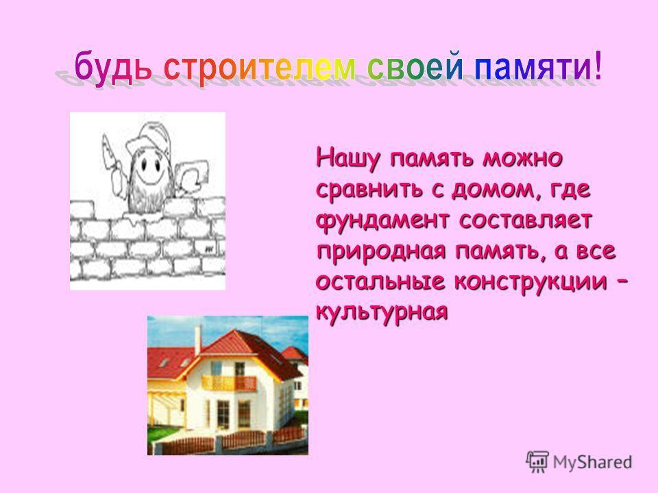 Нашу память можно сравнить с домом, где фундамент составляет природная память, а все остальные конструкции – культурная