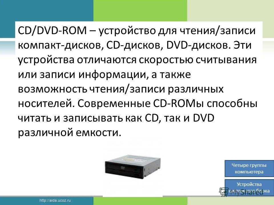 CD/DVD-ROM – устройство для чтения/записи компакт-дисков, CD-дисков, DVD-дисков. Эти устройства отличаются скоростью считывания или записи информации, а также возможность чтения/записи различных носителей. Современные CD-ROMы способны читать и записы