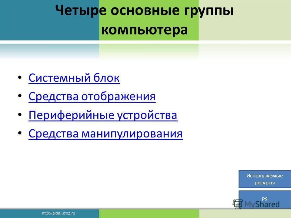 Четыре основные группы компьютера Системный блок Средства отображения Периферийные устройства Средства манипулирования Используемые ресурсы PS