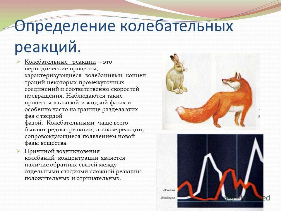 Определение колебательных реакций. Колебательные реакции - это периодические процессы, характеризующиеся колебаниями концен траций некоторых промежуточных соединений и соответственно скоростей превращения. Наблюдаются такие процессы в газовой и жидко