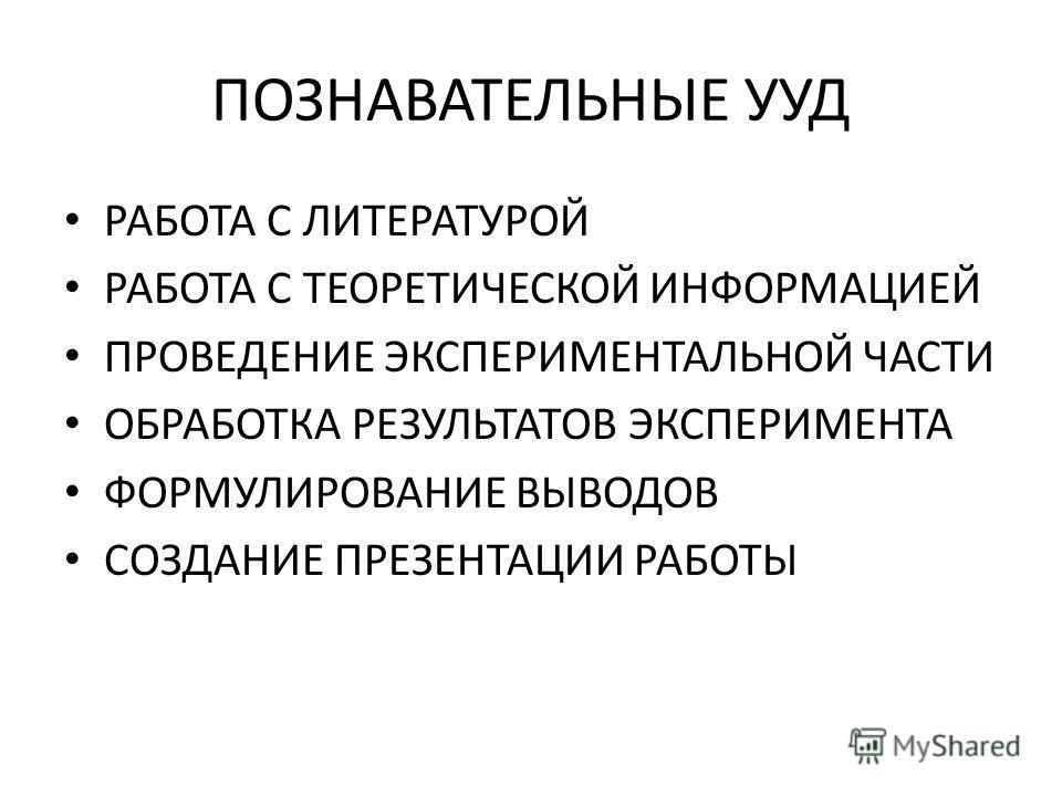 ПОЗНАВАТЕЛЬНЫЕ УУД РАБОТА С ЛИТЕРАТУРОЙ РАБОТА С ТЕОРЕТИЧЕСКОЙ ИНФОРМАЦИЕЙ ПРОВЕДЕНИЕ ЭКСПЕРИМЕНТАЛЬНОЙ ЧАСТИ ОБРАБОТКА РЕЗУЛЬТАТОВ ЭКСПЕРИМЕНТА ФОРМУЛИРОВАНИЕ ВЫВОДОВ СОЗДАНИЕ ПРЕЗЕНТАЦИИ РАБОТЫ