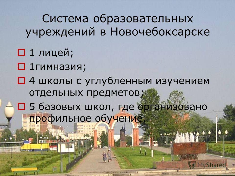 Система образовательных учреждений в Новочебоксарске 1 лицей; 1гимназия; 4 школы с углубленным изучением отдельных предметов; 5 базовых школ, где организовано профильное обучение.