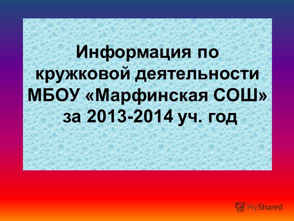 Информация по кружковой деятельности МБОУ «Марфинская СОШ» за 2013-2014 уч. год