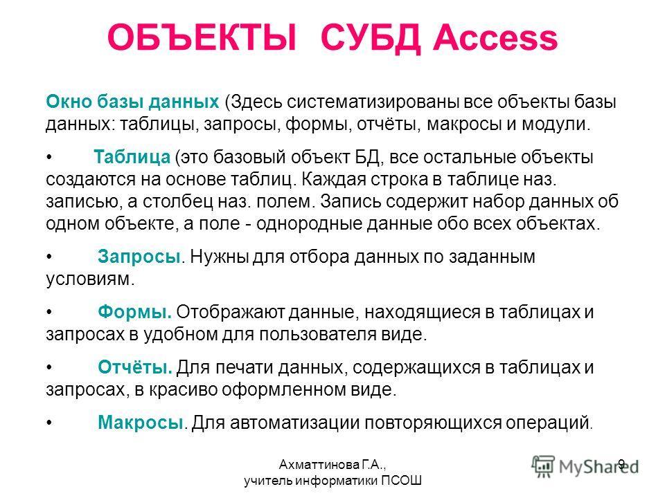 Ахматтинова Г.А., учитель информатики ПСОШ 9 ОБЪЕКТЫ СУБД Access Окно базы данных (Здесь систематизированы все объекты базы данных: таблицы, запросы, формы, отчёты, макросы и модули. Таблица (это базовый объект БД, все остальные объекты создаются на