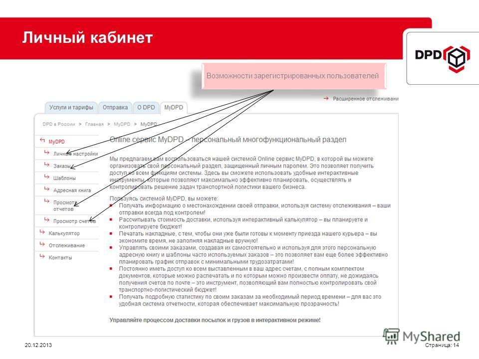 Страница: 14 Личный кабинет Возможности зарегистрированных пользователей 20.12.2013