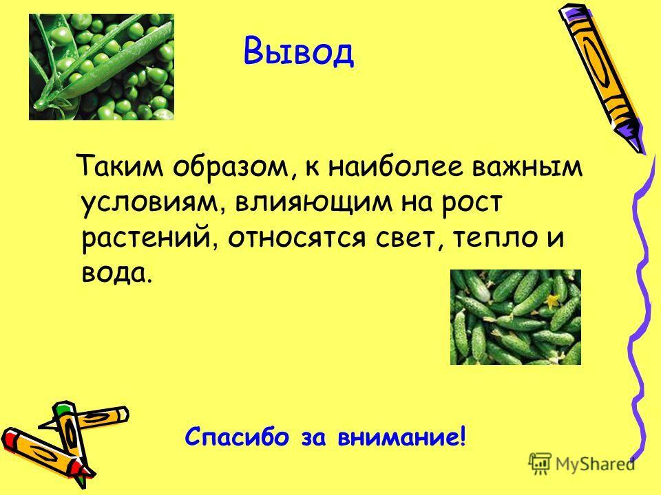 Вывод Таким образом, к наиболее важным условиям, влияющим на рост растений, относятся свет, тепло и вода. Спасибо за внимание!