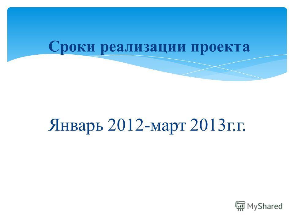 Январь 2012-март 2013г.г. Сроки реализации проекта