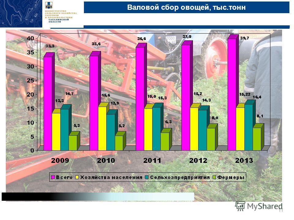 Валовой сбор овощей, тыс.тонн Министерство сельского хозяйства, торговли и продовольствия Сахалинской области, Южно-Сахалинск, 2013 11