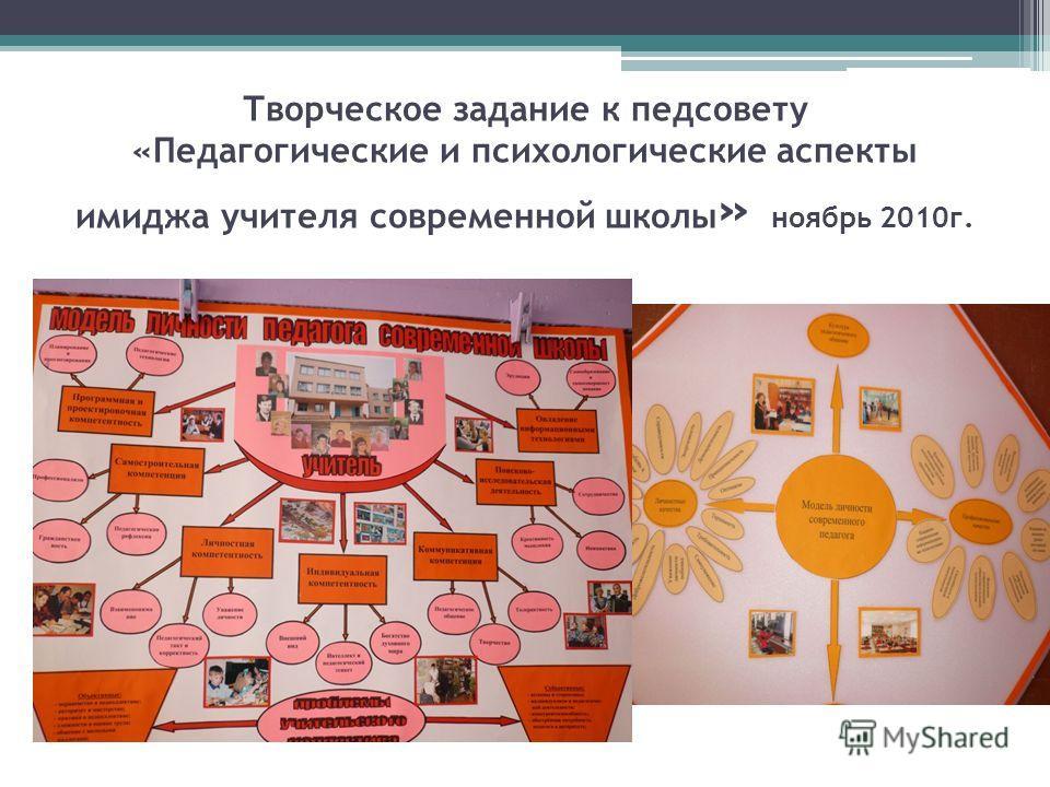 Творческое задание к педсовету «Педагогические и психологические аспекты имиджа учителя современной школы » ноябрь 2010г.