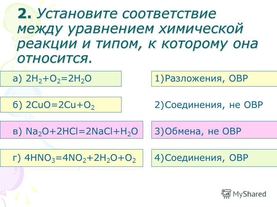 2. Установите соответствие между уравнением химической реакции и типом, к которому она относится. а) 2H 2 +O 2 =2H 2 O б) 2CuO=2Cu+O 2 в) Na 2 O+2HCl=2NaCl+H 2 O г) 4HNO 3 =4NO 2 +2H 2 O+O 2 1)Разложения, ОВР 2)Соединения, не ОВР 3)Обмена, не ОВР 4)С