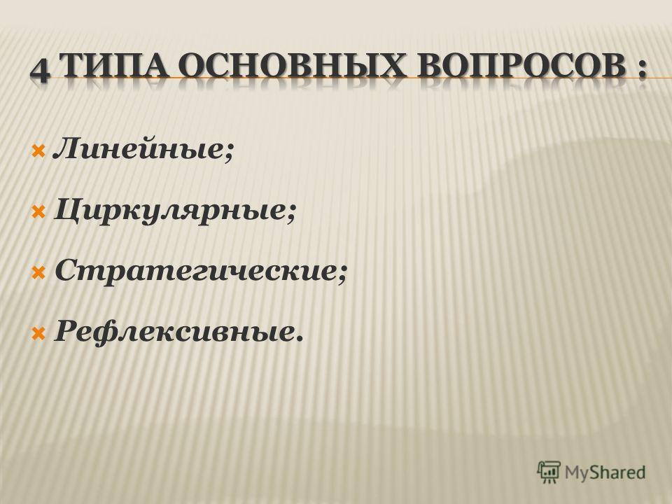 Линейные; Циркулярные; Стратегические; Рефлексивные.