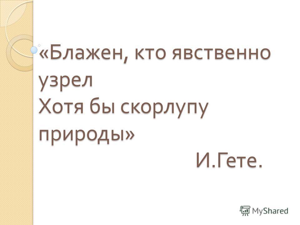 « Блажен, кто явственно узрел Хотя бы скорлупу природы » И. Гете.