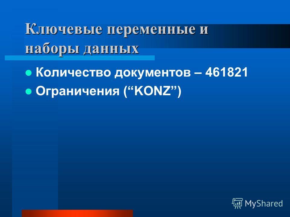 Ключевые переменные и наборы данных Количество документов – 461821 Ограничения (KONZ)
