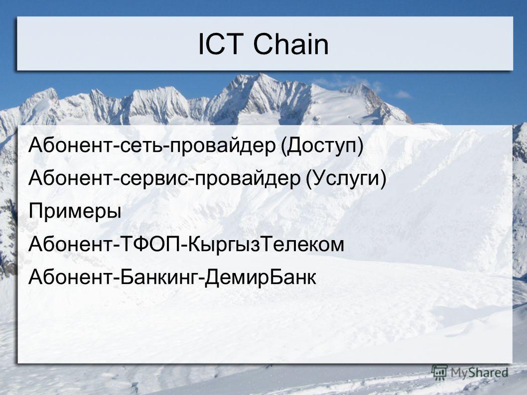 ICT Chain Абонент-сеть-провайдер (Доступ) Абонент-сервис-провайдер (Услуги) Примеры Абонент-ТФОП-КыргызТелеком Абонент-Банкинг-ДемирБанк