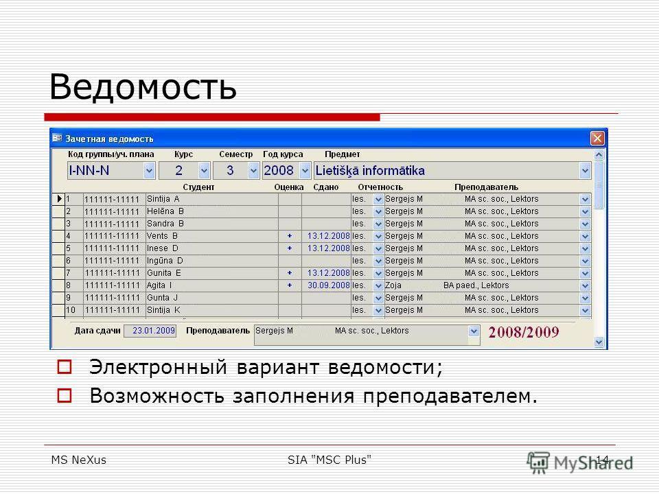 MS NeXusSIA MSC Plus14 Ведомость Электронный вариант ведомости; Возможность заполнения преподавателем.