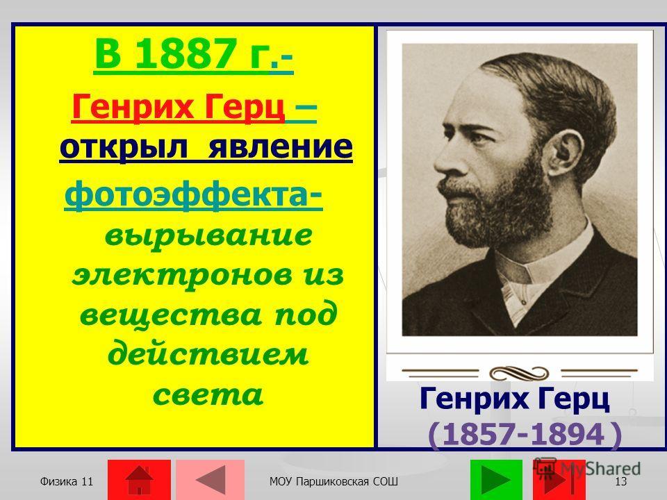 Физика 11МОУ Паршиковская СОШ12 ЯВЛЕНИЕ ФОТОЭФФЕКТА