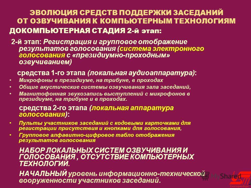 ЭВОЛЮЦИЯ СРЕДСТВ ПОДДЕРЖКИ ЗАСЕДАНИЙ ОТ ОЗВУЧИВАНИЯ К КОМПЬЮТЕРНЫМ ТЕХНОЛОГИЯМ ДОКОМПЬЮТЕРНАЯ СТАДИЯ 2-й этап: 2-й этап: Регистрация и групповое отображение результатов голосования (система электронного голосования с «президиумно-проходным» озвучиван