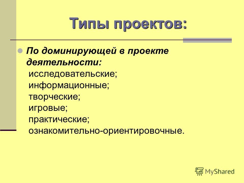 Типы проектов: По продолжительности выполнения проекта: - краткосрочные (несколько уроков); - средней продолжительности (от недели до месяца); - долгосрочные (от месяца до нескольких месяцев).