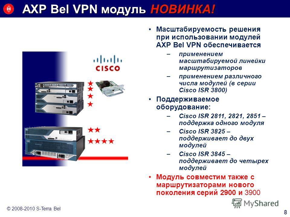 AXP Bel VPN модуль НОВИНКА! 8 © 2008-2010 S-Terra Bel Масштабируемость решения при использовании модулей AXP Bel VPN обеспечивается –применением масштабируемой линейки маршрутизаторов –применением различного числа модулей (в серии Cisco ISR 3800) Под