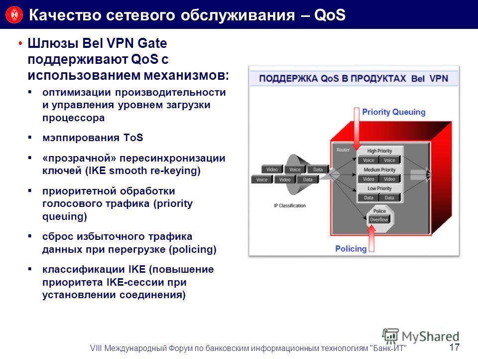 Шлюзы Bel VPN Gate поддерживают QoS с использованием механизмов: оптимизации производительности и управления уровнем загрузки процессора мэппирования ToS «прозрачной» пересинхронизации ключей (IKE smooth re-keying) приоритетной обработки голосового т