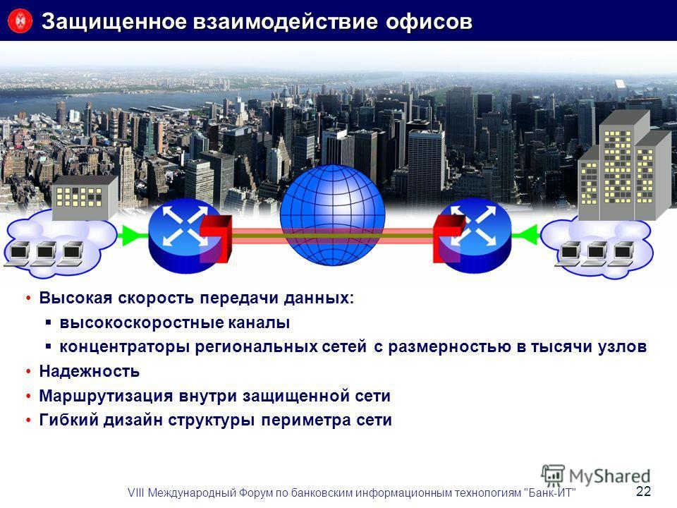 Защищенное взаимодействие офисов Высокая скорость передачи данных: высокоскоростные каналы концентраторы региональных сетей с размерностью в тысячи узлов Надежность Маршрутизация внутри защищенной сети Гибкий дизайн структуры периметра сети VIII Межд