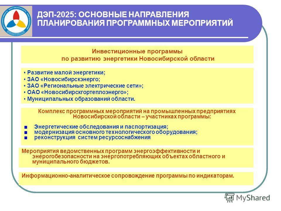 Комплекс программных мероприятий на промышленных предприятиях Новосибирской области – участниках программы: Энергетические обследования и паспортизация; модернизация основного технологического оборудования; реконструкция систем ресурсоснабжения Мероп
