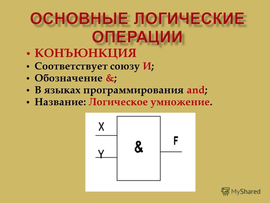 КОНЪЮНКЦИЯ Соответствует союзу И ; Обозначение &; В языках программирования and; Название : Логическое умножение.