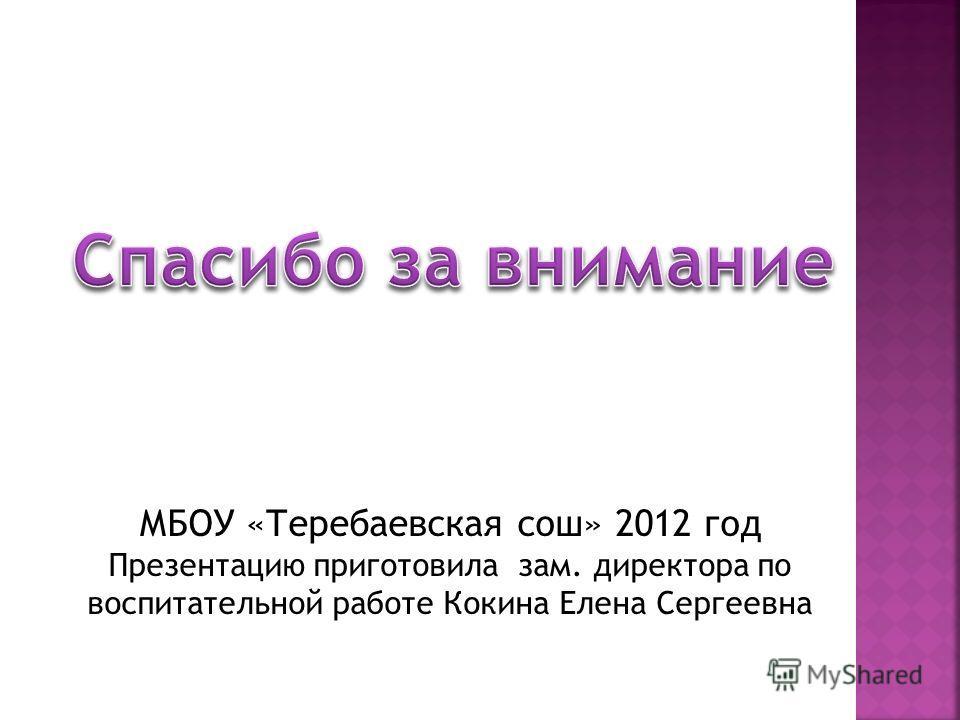 МБОУ «Теребаевская сош» 2012 год Презентацию приготовила зам. директора по воспитательной работе Кокина Елена Сергеевна
