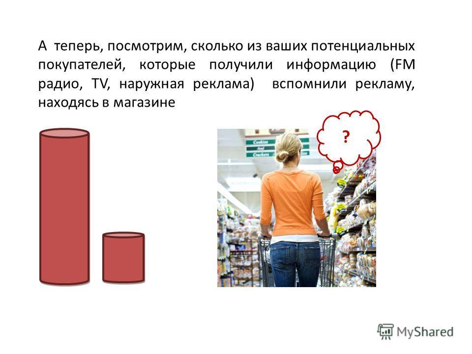 А теперь, посмотрим, сколько из ваших потенциальных покупателей, которые получили информацию (FM радио, ТV, наружная реклама) вспомнили рекламу, находясь в магазине ?