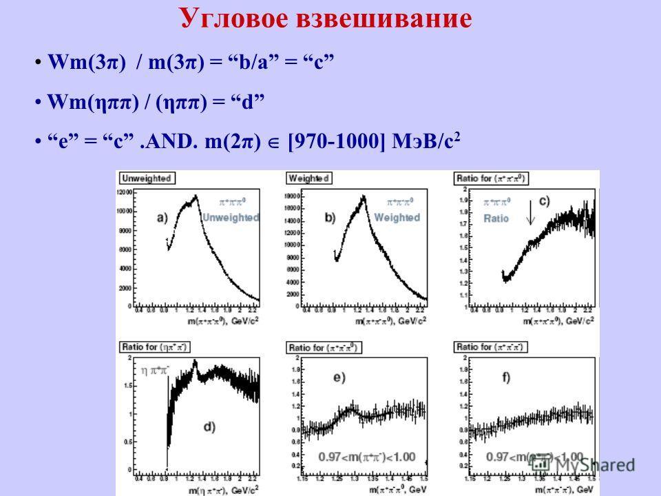 Угловое взвешивание Wm(3π) / m(3π) = b/a = c Wm(ηππ) / (ηππ) = d e = c.AND. m(2π) [970-1000] MэВ/c 2