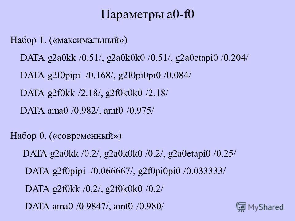 Параметры a0-f0 Набор 1. («максимальный») DATA g2a0kk /0.51/, g2a0k0k0 /0.51/, g2a0etapi0 /0.204/ DATA g2f0pipi /0.168/, g2f0pi0pi0 /0.084/ DATA g2f0kk /2.18/, g2f0k0k0 /2.18/ DATA ama0 /0.982/, amf0 /0.975/ Набор 0. («современный») DATA g2a0kk /0.2/