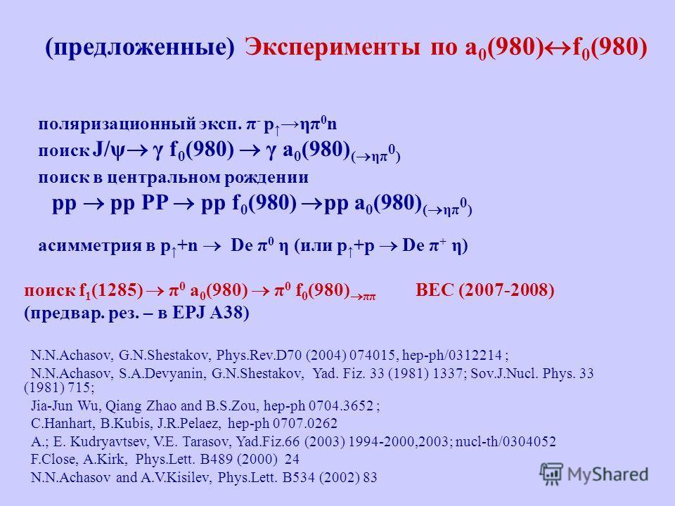 (предложенные) Эксперименты по a 0 (980) f 0 (980) поляризационный эксп. π - pηπ 0 n поиск J/ψ γ f 0 (980) γ a 0 (980) ( ηπ 0 ) поиск в центральном рождении pp pp PP pp f 0 (980) pp a 0 (980) ( ηπ 0 ) асимметрия в p +n De π 0 η (или p +p De π + η) по
