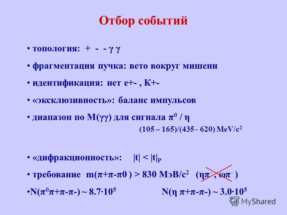 Отбор событий топология: + - - γ γ фрагментация пучка: вето вокруг мишени идентификация: нет e+-, К+- «эксклюзивность»: баланс импульсов диапазон по M(γγ) для сигнала π 0 / η (105 – 165)/(435 - 620) MeV/с 2 «дифракционность»: |t| < |t| P требование m