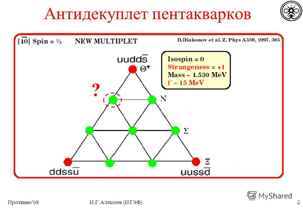 Протвино08И.Г. Алексеев (ИТЭФ)2 Антидекуплет пентакварков ?