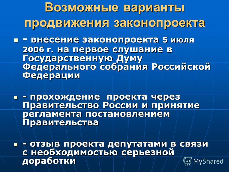 Возможные варианты продвижения законопроекта - внесение законопроекта 5 июля 2006 г. на первое слушание в Государственную Думу Федерального собрания Российской Федерации - внесение законопроекта 5 июля 2006 г. на первое слушание в Государственную Дум