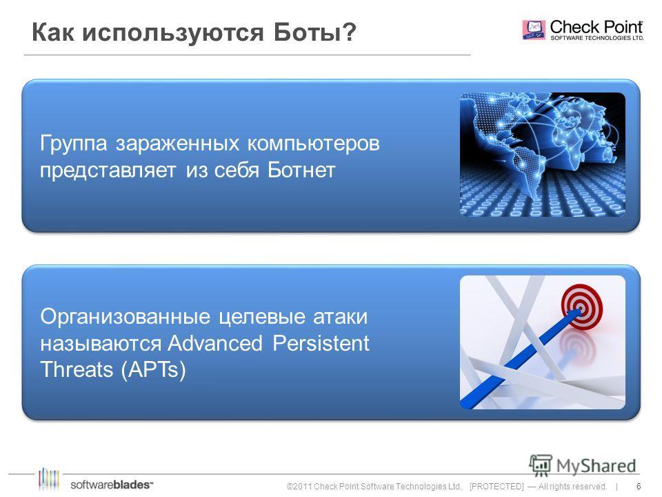 6 6©2011 Check Point Software Technologies Ltd. [PROTECTED] All rights reserved. | Как используются Боты? Организованные целевые атаки называются Advanced Persistent Threats (APTs) Группа зараженных компьютеров представляет из себя Ботнет