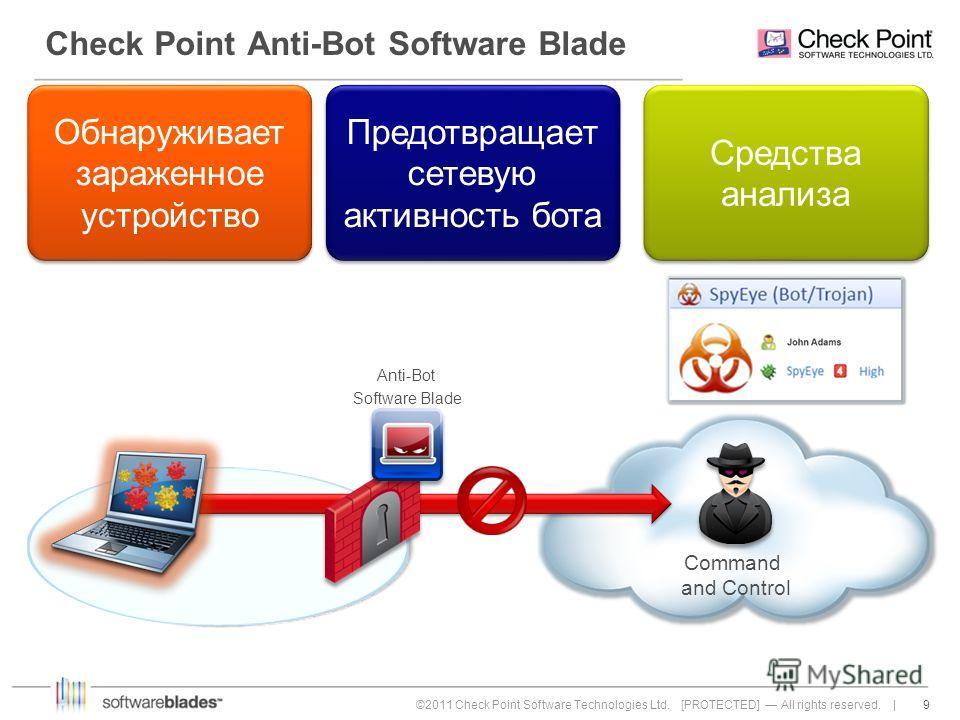 9 9©2011 Check Point Software Technologies Ltd. [PROTECTED] All rights reserved. | Check Point Anti-Bot Software Blade Предотвращает сетевую активность бота Обнаруживает зараженное устройство Средства анализа Anti-Bot Software Blade Command and Contr