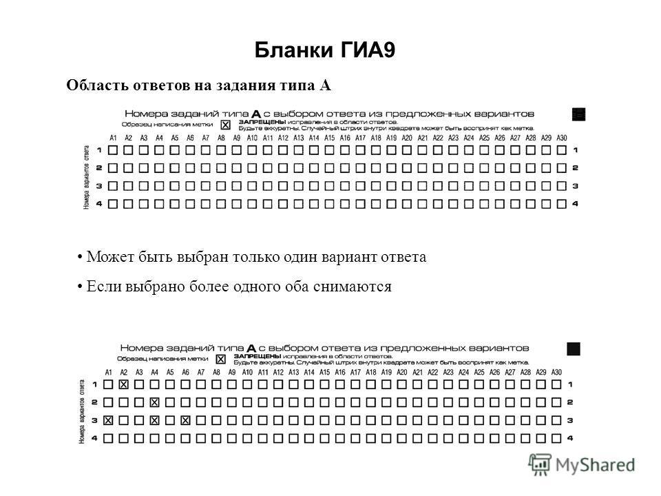 Бланки ГИА9 Область ответов на задания типа А Может быть выбран только один вариант ответа Если выбрано более одного оба снимаются