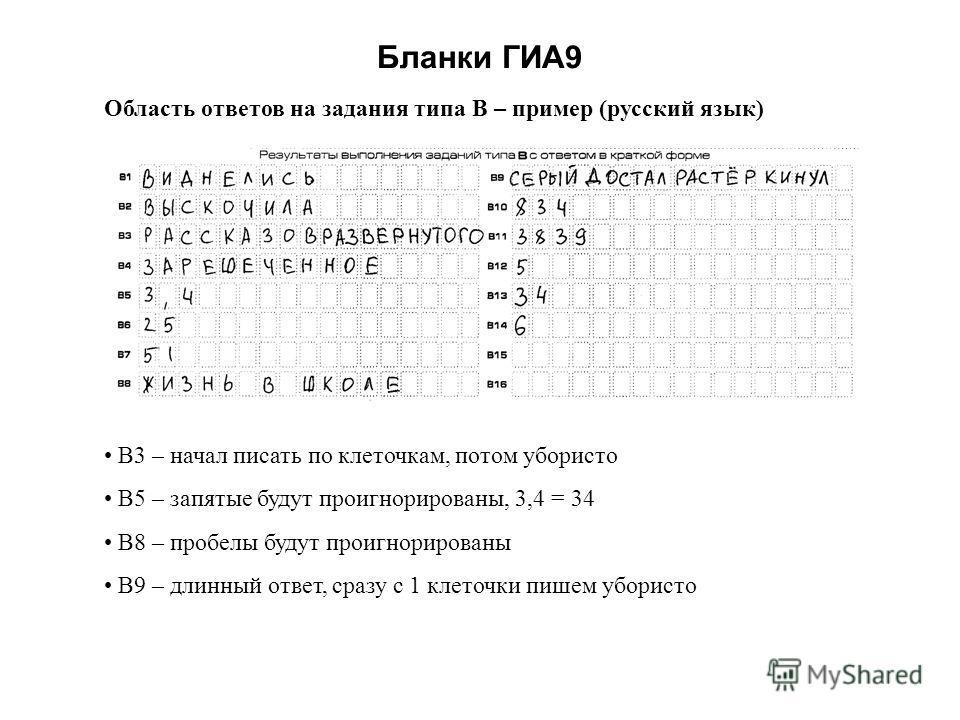Бланки ГИА9 Область ответов на задания типа В – пример (русский язык) В3 – начал писать по клеточкам, потом убористо В5 – запятые будут проигнорированы, 3,4 = 34 В8 – пробелы будут проигнорированы В9 – длинный ответ, сразу с 1 клеточки пишем убористо