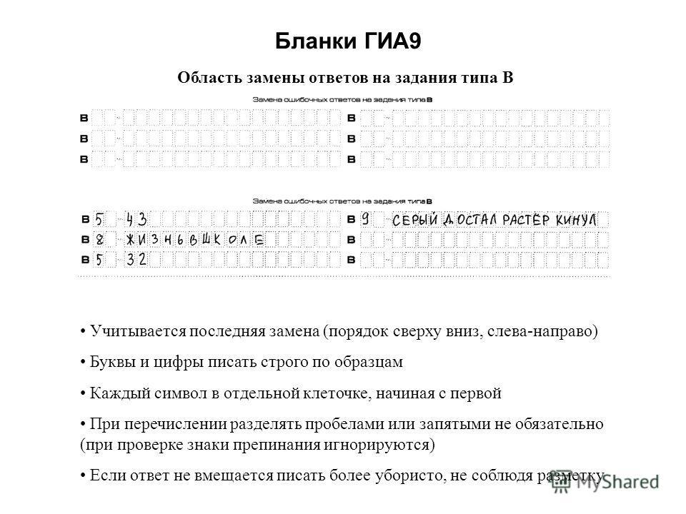 Бланки ГИА9 Область замены ответов на задания типа В Учитывается последняя замена (порядок сверху вниз, слева-направо) Буквы и цифры писать строго по образцам Каждый символ в отдельной клеточке, начиная с первой При перечислении разделять пробелами и