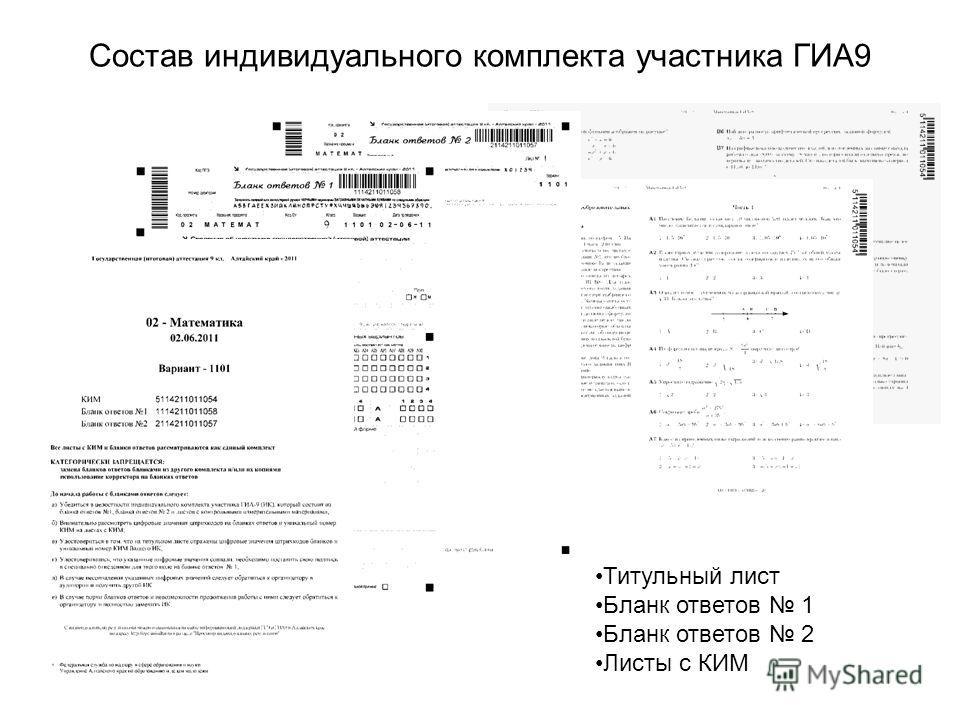 Состав индивидуального комплекта участника ГИА9 Титульный лист Бланк ответов 1 Бланк ответов 2 Листы с КИМ