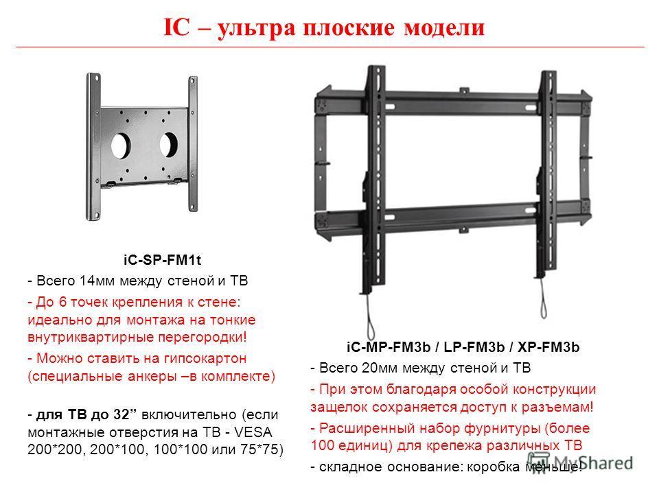 IC – ультра плоские модели iC-SP-FM1t - Всего 14мм между стеной и ТВ - До 6 точек крепления к стене: идеально для монтажа на тонкие внутриквартирные перегородки! - Можно ставить на гипсокартон (специальные анкеры –в комплекте) - для ТВ до 32 включите