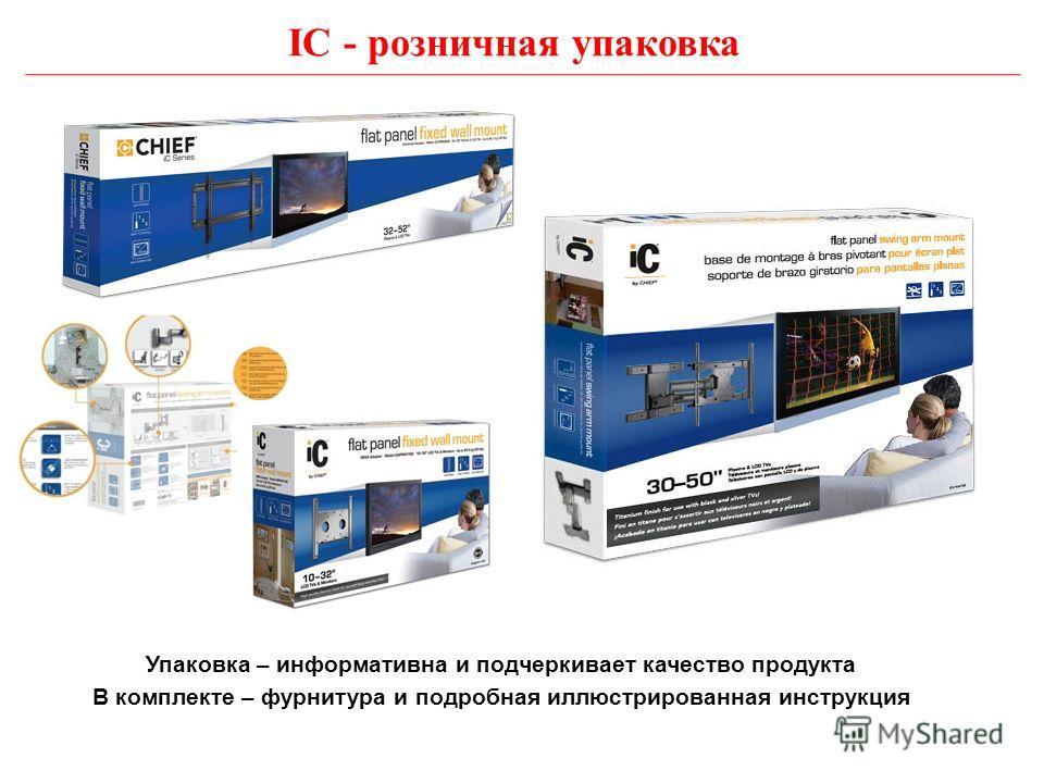 IC - розничная упаковка Упаковка – информативна и подчеркивает качество продукта В комплекте – фурнитура и подробная иллюстрированная инструкция