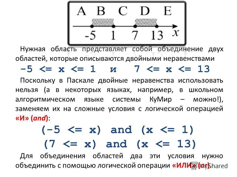 Нужная область представляет собой объединение двух областей, которые описываются двойными неравенствами -5