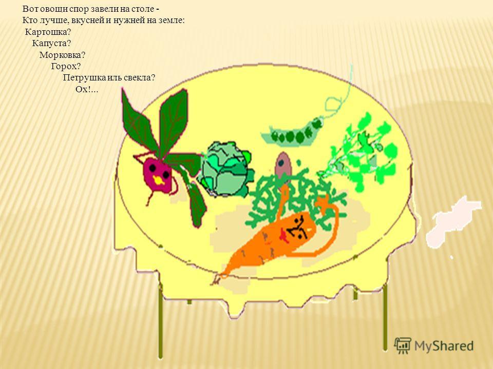 Вот овощи спор завели на столе - Кто лучше, вкусней и нужней на земле: Картошка? Капуста? Морковка? Горох? Петрушка иль свекла? Ох!...