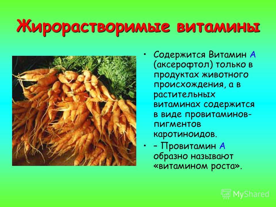 Жирорастворимые витамины Содержится Витамин А (аксерофтол) только в продуктах животного происхождения, а в растительных витаминах содержится в виде провитаминов- пигментов каротиноидов. – Провитамин А образно называют «витамином роста».