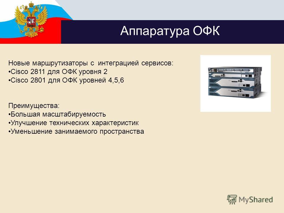 Аппаратура ОФК Новые маршрутизаторы с интеграцией сервисов: Cisco 2811 для ОФК уровня 2 Cisco 2801 для ОФК уровней 4,5,6 Преимущества: Большая масштабируемость Улучшение технических характеристик Уменьшение занимаемого пространства